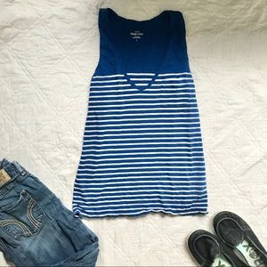 J. Crew Blue and White Scoop Tank w/ Pocket